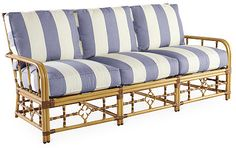 """Mimi 78"""" Stripe Sofa, Periwinkle"""