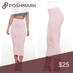 NEW Pink Blush Midi skirt size M Pink Blush Midi skirt size medium.  Features a high waisted body contour which fits  snuggly and sexy.    Material: Rayon/ Polyester/ Spandex Available sizes: Medium   ❤️Add to bundle and save ✖️ No Paypal or outside transactions  (Represented are stock photos from the boutique) Skirts Midi
