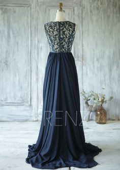 2016 Navy Blue Bridesmaid Dress V Neck Hollow Wedding by RenzRags