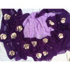Pure Chiffon Zari Gota Work Saree In Purple Dress Neck Designs, Saree Blouse Designs, Shiffon Saree, Lila Make-up, Gota Patti Saree, Purple Saree, Embroidery Suits Design, Kurti Designs Party Wear, Dress Indian Style