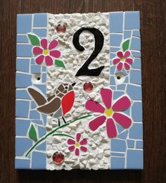 Handmade mosaic. 20×25cm Wooden Keepsake Box, Keepsake Boxes, Art Craft Store, Craft Stores, Mosaic Flowers, Mosaic Crafts, House Numbers, Wedding Gifts, Arts And Crafts