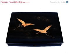 Vintage Japanese Lacquer Jewelry Music Box Hand Painted Double Golden Cranes