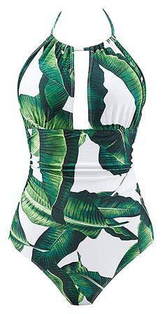 Toller Badeanzug + besondere Schnitt!  Bekleidung, Damen, Bademode, Badeanzüge Cheeky One Piece Swimsuit, Push Up Swimsuit, Women's One Piece Swimsuits, Women Swimsuits, Tankini, Monokini Swimsuits, Boho Chic, Biker, Green Swimsuit