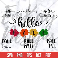 Hello Fall SVG Welcome Fall SVG Leaves Maple Autumn | Etsy