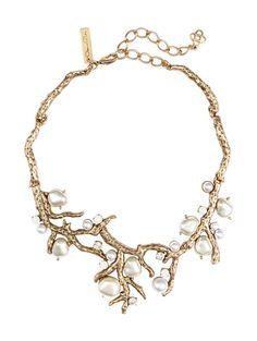 Vintage Oscar De La Renta Necklace Gold Pearl