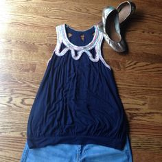 Anthro C Keer Banded Bottom Top sz S Anthro C Keer Banded Bottom Top sz S, Very Good Used Condition! Navy blue with several colors of trim stitched around neckline with cut out detailing. Make an Offer! Anthropologie Tops Tank Tops