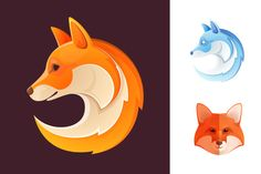 12 colorful fox icons by kaer_shop on Creative Market