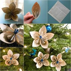 Vintage Paper Flower Christmas  Ornaments