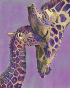 mother and baby giraffe in whimisical colorsBy Jane Schnetlage