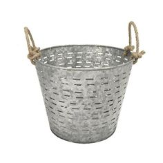 Round Garden Basket, Galvanized ($20) ❤ liked on Polyvore featuring home, outdoors, garden tools and galvanized