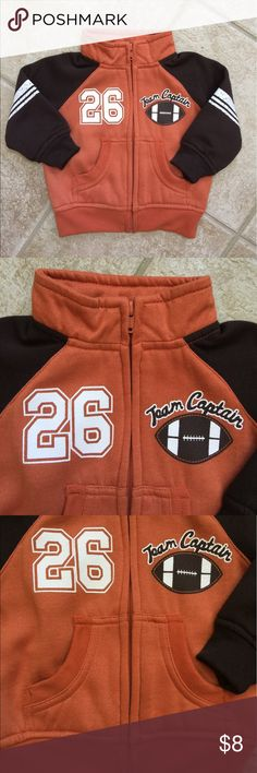Faded Glory Infant Boys Fleece Lined Fall Jacket Faded Glory Infant Boys Fall Jacket  For the captain of the football team  ...  Worn only a few times Size: 12M Color: Orange and brown  Fleece lined for fall activity Full front zipper Kangaroo pockets Ribbed cuffs and hem 100% polyester Faded Glory Jackets & Coats