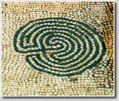 An ancient Roman #labyrinth portrayed in mosaic in Coimbra, Portugal. (labyrinthos.net)