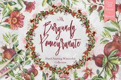 Burgundy Pomegranate Watercolor Set By Fluffy Unicorn