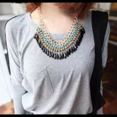 NEW Popular BOHO BEADED Necklace Blue Black and White Beads Jewelry Necklaces