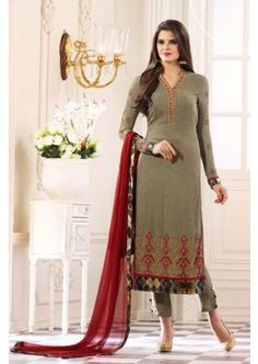 Tan Khakhi Geprgette , Digital Print Churidar Suit, -  £105.00,  #Designersalwarkameezuk  #Churidarsuitsuk  #Pakistanisalwarkameezuk  #Onlinechuridaruk  #Shopkund