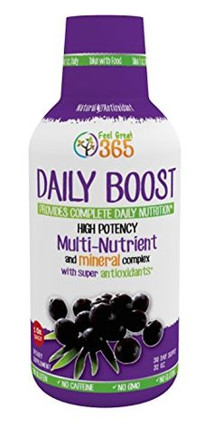 Daily Boost: Get All The Nutrition You Need In A Single, One-A-Day Shot - 66 SuperFood Formula w/ Super Antioxidants - More Energy, Sharper Mental Focus- 30-Day Supply - Empty Bottle Guarantee Feel Great 365 http://www.amazon.com/dp/B00SZ7JUGU/ref=cm_sw_r_pi_dp_HESjwb12GN6TJ