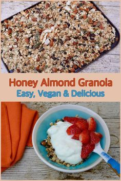 How do you like your granola? Here's an easy and simple recipe for vegan honey almond granola. It's both nutritious and delicious and makes for a great start to the day. You can easily swap the vegan honey for ordinary honey. Veggie Recipes Healthy, Healthy Vegan Snacks, Vegan Breakfast Recipes, Vegan Recipes Easy, Gourmet Recipes, Vegetarian Recipes, Brunch Recipes, Delicious Recipes, Healthy Breakfasts