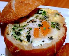 This was our breakfast Sunday morning. Aren't they cute? They were very, very good. It's the whole egg and the …