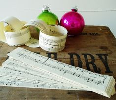 This Vintage Sheet Music paper chain will go nicely with the music sheet stockings i made.