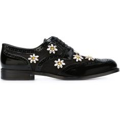 Dolce & Gabbana embellished brogues (82.920 RUB) ❤ liked on Polyvore featuring shoes, oxfords, flats, black, floral flats, oxford flats, oxford shoes, leather flats and black flats