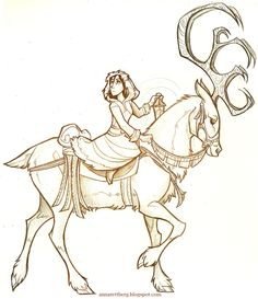 Girl and Deer by Anna Rettberg. LOVE this..princess rides in a big buck, not stallion!! Perfect for us country tomboys, huh girls!!