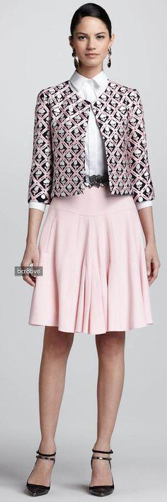 Oscar de la Renta Floral Jewel-Neck Jacket, Button-Up Collared Shirt & Front-Pleated A-Line Skirt