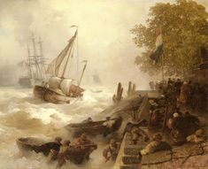 andreas achenbach paintings | Andreas Achenbach (1815-1910) Hafeneinfahrt Bei Rauher See [Return To ...