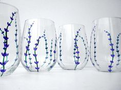 Lavender Stemless Wine Glasses-by Mary Elizabeth Arts