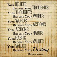 Beliefs, thoughts, words, actions, habits, values, destiny - Gandhi quote