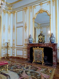Neoclassic paneled room in the Chateau de Chambord.