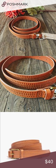 """Madewell cognac leather embossed belt A rich leather belt embossed with a geometric design.  •Designed to be worn at the waist or the hips. •Leather. •Width: 4/5"""" Madewell Accessories Belts"""
