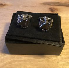 Closed Wing Bat with Swarovski Crystal Eyes Cufflinks
