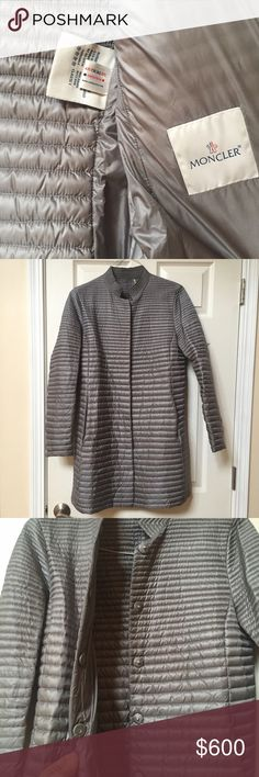 Authentic Moncler Silver Paquita Giubbotto jacket 100% authentic and registered Moncler silver Pacquita jacket. Registration tag and details pictured. Perfect condition. Moncler Jackets & Coats