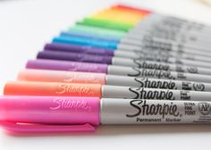 What pencil case isn't complete without sharpies? Like this photo if you love sharpies! Sharpie Markers, Sharpie Art, Cute School Supplies, Office And School Supplies, Coloring Books, Coloring Pages, Colouring, School Stuff, Fimo