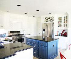 Navy kitchen island