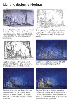 By hand: A lighting sketch for a production of Carousel, made by adding a blue watercolor wash, black painted shadows, and highlights rendered in Wite-Out to the set designer's pencil sketch.