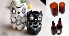 Krásný nápad, jak zužitkovat tak ošklivou věc, jako je plastová láhev. Je až s neuvěřením, jak krásně vypadají. Tvar láhve krásně doplňuje tělo sovičky, takže vypadají skutečně přirozeně. K výrobě navíc postačí jen úplně obyčejné potřeby. Potřebujete 2 široké plastové lahve (například od piva) bílou a černou akrylovou barvu tužku nůžky Postup Krok 1 ...