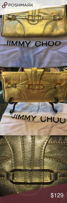 """Jimmy Choo Gold Clutch with Dustbag Zipper closure.  11"""" x 5.5"""" gorgeous Gold Clutch.   From a girlfriend private collection. Jimmy Choo Bags Clutches & Wristlets"""