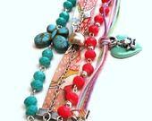 """Bracelet manchettes multirangs en métal argenté """"Pastel """" rang de perles abacus turquoise et rose , biais Liberty ,coton ciré : Bracelet par les-creations-de-melletincelle"""