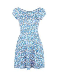 Teens Blue Ditsy Floral Print Bardo Neck Skater Dress   New Look