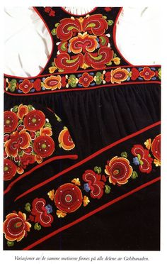 """Most of Norway's folk costumes include embroidery. The local embroidery in Hallingdal is one of several regional styles based loosely on Rosemaling, which is a type of folk painting used to decorate chests and furniture."""