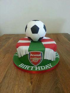 Arsenal cake design Football Themed Cakes, Football Birthday Cake, Hockey Cakes, Soccer Cake, 21st Cake, Birthday Cakes For Men, Cakes For Boys, Football Cake Design, Groomsman Cake
