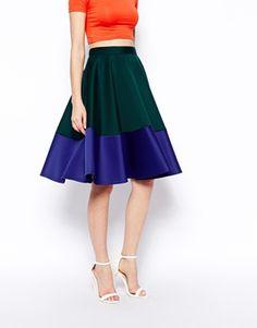 Enlarge ASOS Color Block Midi Skirt In Scuba