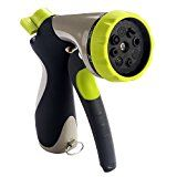 #3: Garden Hose Nozzle BESTOPE Hand Spray Nozzle  Heavy Duty 8 Adjustable Pattern Pistol Grip Front Trigger Water Nozzle with Connector  High Pressure for Watering Plants Car Wash and Showering Pets