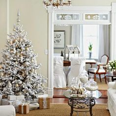 White Christmas Tree in a traditional Living Room