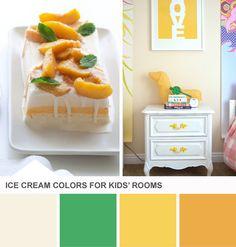 Tuesday Huesday: Ice Cream-Inspired Kids' Room Colors (http://blog.hgtv.com/design/2013/06/18/orange-green-kids-room-color-palette/?soc=pinterest)