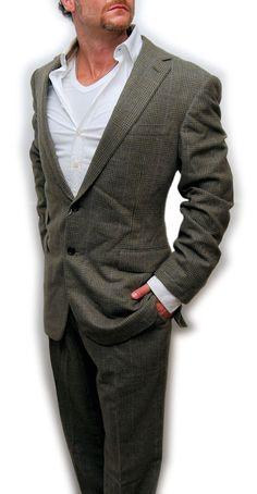Polo Ralph Lauren Purple Label Mens Cashmere Suit Gray Plaid Italy 42L #PoloRalphLauren #ThreeButton