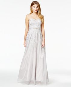 Say Yes To The Prom Juniors Strapless Embroidered Gown A Macys Exclusive