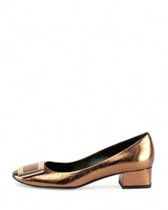 ceac0f79b X2TZ1 Roger Vivier Belle de Nuit Metallic Leather Buckle Low-Heel Pump,  Bronze #