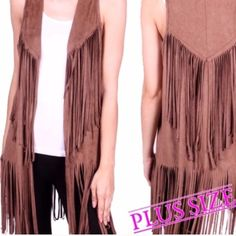 """HP 10/19FRINGED VEST! YAASSSS PLEASE! You can't go wrong with this darling fringed best! 100% polyester and a true hippie chic look. Made in USA                                                                                           ♦️1X: bust 43""""♦️2X: bust 45""""♦️3X: bust 47""""             PLEASE DO NOT BUY THIS LISTING, I will personalize one for you.                                         MOCHA One 2X♦️BLACK 1X-2X-3X Other"""
